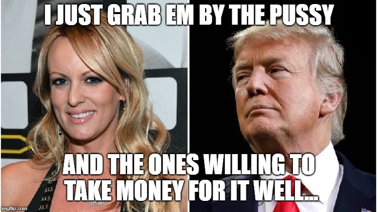 Liar Trump | I JUST GRAB EM BY THE PUSSY AND THE ONES WILLING TO TAKE MONEY FOR IT WELL... | image tagged in liar trump | made w/ Imgflip meme maker