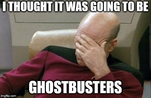 Captain Picard Facepalm Meme | I THOUGHT IT WAS GOING TO BE GHOSTBUSTERS | image tagged in memes,captain picard facepalm | made w/ Imgflip meme maker