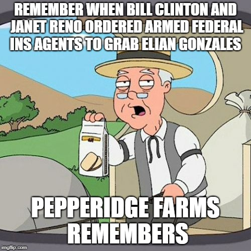 Democratic Hypocrisy  | REMEMBER WHEN BILL CLINTON AND JANET RENO ORDERED ARMED FEDERAL INS AGENTS TO GRAB ELIAN GONZALES PEPPERIDGE FARMS REMEMBERS | image tagged in bill clinton,janet reno,ins,elian gonzalez,donald trump,illegal immigration | made w/ Imgflip meme maker