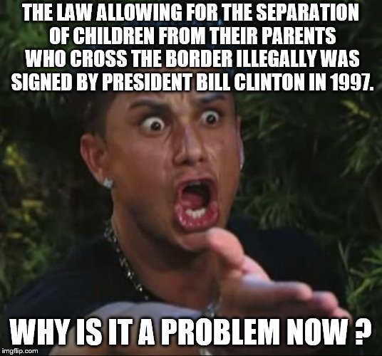Politically charged  | THE LAW ALLOWING FOR THE SEPARATION OF CHILDREN FROM THEIR PARENTS WHO CROSS THE BORDER ILLEGALLY WAS SIGNED BY PRESIDENT BILL CLINTON IN 19 | image tagged in dj pauly d,political meme | made w/ Imgflip meme maker