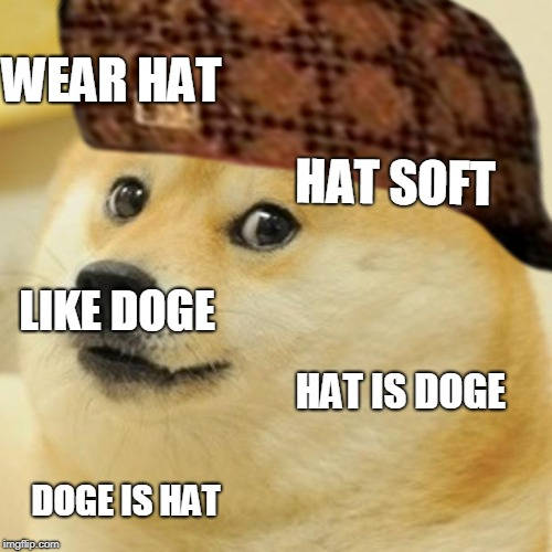 WEAR HAT HAT SOFT LIKE DOGE HAT IS DOGE DOGE IS HAT | image tagged in doge hot doge,scumbag | made w/ Imgflip meme maker