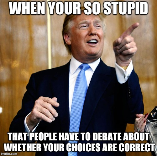 American Politics in a nutshell | WHEN YOUR SO STUPID THAT PEOPLE HAVE TO DEBATE ABOUT WHETHER YOUR CHOICES ARE CORRECT | image tagged in donal trump birthday,donald trump,memes,your mom | made w/ Imgflip meme maker