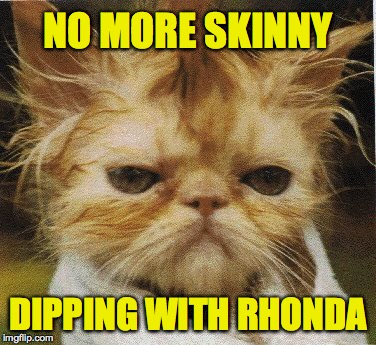 Messed up cat | NO MORE SKINNY DIPPING WITH RHONDA | image tagged in messed up cat,memes | made w/ Imgflip meme maker