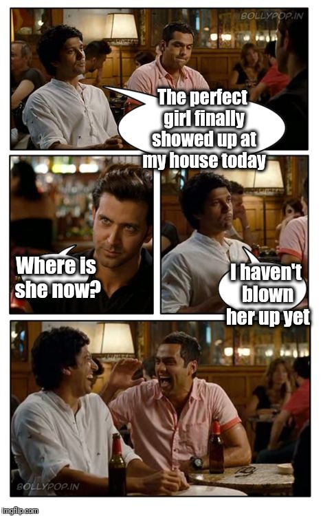 This guy forgot to buy an air pump | The perfect girl finally showed up at my house today Where is she now? I haven't blown her up yet | image tagged in memes,znmd | made w/ Imgflip meme maker