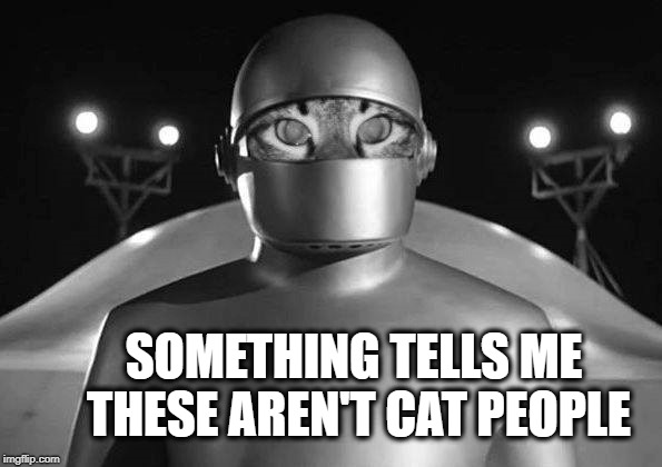 When you find you have landed on a hostile planet.  | SOMETHING TELLS ME THESE AREN'T CAT PEOPLE | image tagged in cat,the day the earth stood still,still a better love story than twilight,planet,space,cat meme | made w/ Imgflip meme maker