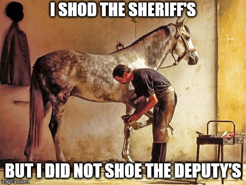 I shod the sheriff's | I SHOD THE SHERIFF'S BUT I DID NOT SHOE THE DEPUTY'S | image tagged in farrier,shoe,horse,sheriff,deputy | made w/ Imgflip meme maker