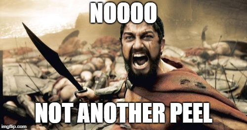 Sparta Leonidas | NOOOO NOT ANOTHER PEEL | image tagged in memes,sparta leonidas | made w/ Imgflip meme maker