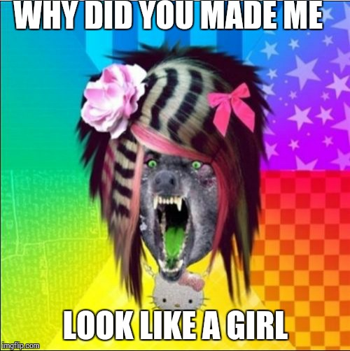 Scene Wolf Meme | WHY DID YOU MADE ME LOOK LIKE A GIRL | image tagged in memes,scene wolf | made w/ Imgflip meme maker