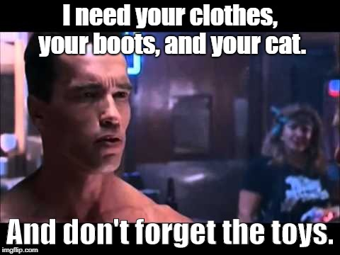 I need your clothes, your boots, and your cat. And don't forget the toys. | image tagged in terminator boots and motorcycle | made w/ Imgflip meme maker
