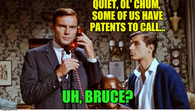 QUIET, OL' CHUM, SOME OF US HAVE PATENTS TO CALL... UH, BRUCE? | made w/ Imgflip meme maker