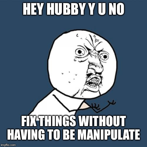 Y U No Meme | HEY HUBBY Y U NO FIX THINGS WITHOUT HAVING TO BE MANIPULATE | image tagged in memes,y u no | made w/ Imgflip meme maker