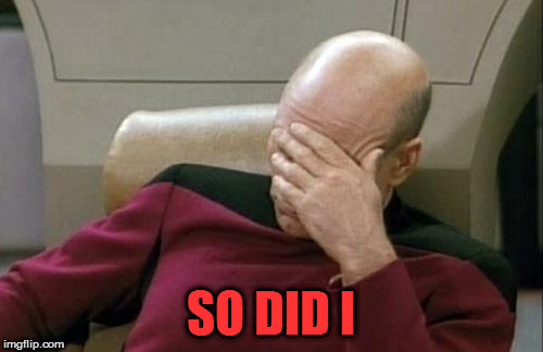 Captain Picard Facepalm Meme | SO DID I | image tagged in memes,captain picard facepalm | made w/ Imgflip meme maker