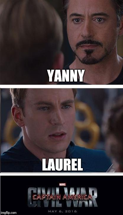 Marvel Civil War 2 Meme | YANNY LAUREL | image tagged in memes,marvel civil war 2,scumbag | made w/ Imgflip meme maker
