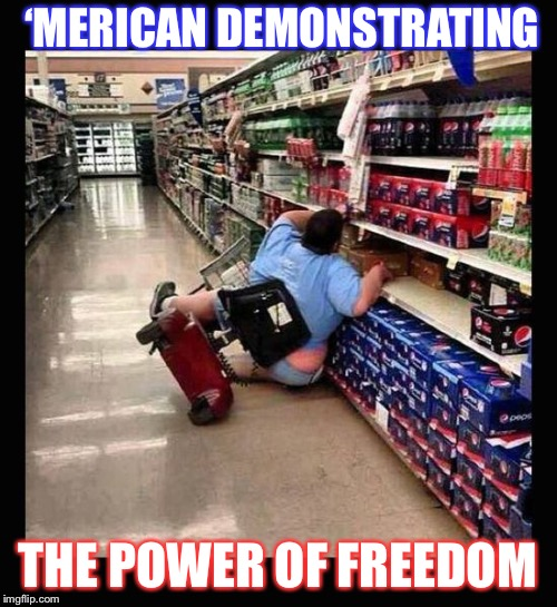 Murica Scooter | 'MERICAN DEMONSTRATING THE POWER OF FREEDOM | image tagged in murica scooter | made w/ Imgflip meme maker