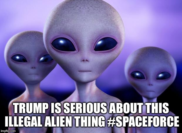 Aliens | TRUMP IS SERIOUS ABOUT THIS ILLEGAL ALIEN THING #SPACEFORCE | image tagged in aliens | made w/ Imgflip meme maker