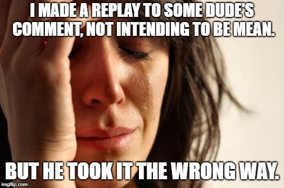 First World Problems Meme | I MADE A REPLAY TO SOME DUDE'S COMMENT, NOT INTENDING TO BE MEAN. BUT HE TOOK IT THE WRONG WAY. | image tagged in memes,first world problems | made w/ Imgflip meme maker