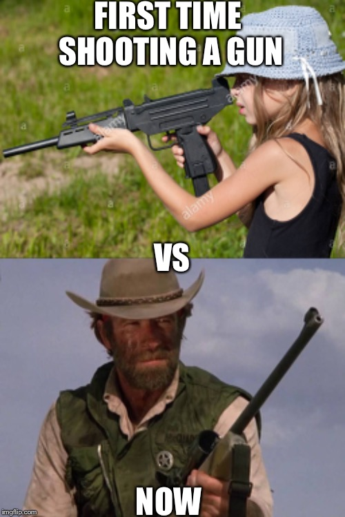 Then vs now | FIRST TIME SHOOTING A GUN NOW VS | image tagged in firearms | made w/ Imgflip meme maker