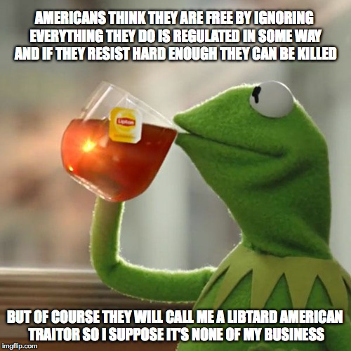 But Thats None Of My Business Meme | AMERICANS THINK THEY ARE FREE BY IGNORING EVERYTHING THEY DO IS REGULATED IN SOME WAY AND IF THEY RESIST HARD ENOUGH THEY CAN BE KILLED BUT  | image tagged in memes,but thats none of my business,kermit the frog | made w/ Imgflip meme maker