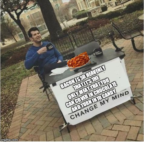 Change my mind | BACON IS SO HEAVENLY THAT IT'S THE ONLY MEAT THAT YOU CAN COVER IN CHOCOLATE AND TURN INTO CANDY | image tagged in change my mind | made w/ Imgflip meme maker