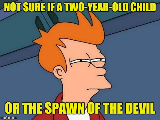 Futurama Fry Meme | NOT SURE IF A TWO-YEAR-OLD CHILD OR THE SPAWN OF THE DEVIL | image tagged in memes,futurama fry | made w/ Imgflip meme maker