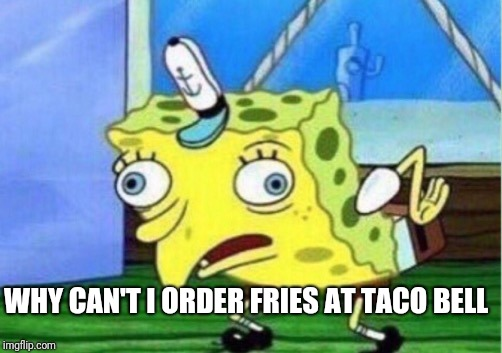 Mocking Spongebob Meme | WHY CAN'T I ORDER FRIES AT TACO BELL | image tagged in memes,mocking spongebob | made w/ Imgflip meme maker