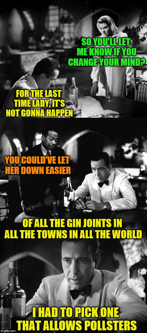 Would you like to participate in a-      NO! (A DashHopes request) | SO YOU'LL LET ME KNOW IF YOU CHANGE YOUR MIND? FOR THE LAST TIME LADY, IT'S NOT GONNA HAPPEN YOU COULD'VE LET HER DOWN EASIER OF ALL THE GIN | image tagged in of all the gin joints in all the towns in all the world,memes,polls,dashhopes | made w/ Imgflip meme maker