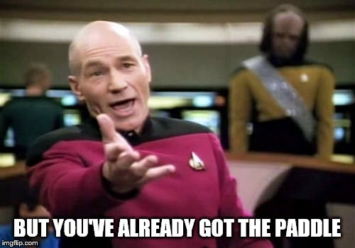 Picard Wtf Meme | BUT YOU'VE ALREADY GOT THE PADDLE | image tagged in memes,picard wtf | made w/ Imgflip meme maker