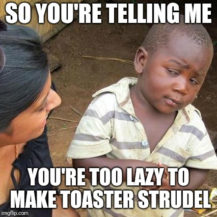 Third World Skeptical Kid Meme | SO YOU'RE TELLING ME YOU'RE TOO LAZY TO MAKE TOASTER STRUDEL | image tagged in memes,third world skeptical kid | made w/ Imgflip meme maker