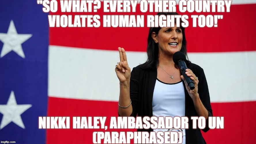 """SO WHAT? EVERY OTHER COUNTRY VIOLATES HUMAN RIGHTS TOO!"" NIKKI HALEY, AMBASSADOR TO UN                     (PARAPHRASED) 