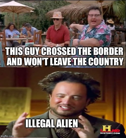 THIS GUY CROSSED THE BORDER AND WON'T LEAVE THE COUNTRY ILLEGAL ALIEN | image tagged in memes | made w/ Imgflip meme maker