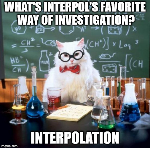The Scientific Method | WHAT'S INTERPOL'S FAVORITE WAY OF INVESTIGATION? INTERPOLATION | image tagged in memes,chemistry cat,science,police,crime | made w/ Imgflip meme maker