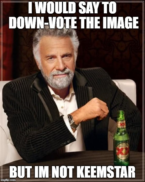 The Most Interesting Man In The World Meme | I WOULD SAY TO DOWN-VOTE THE IMAGE BUT IM NOT KEEMSTAR | image tagged in memes,the most interesting man in the world | made w/ Imgflip meme maker