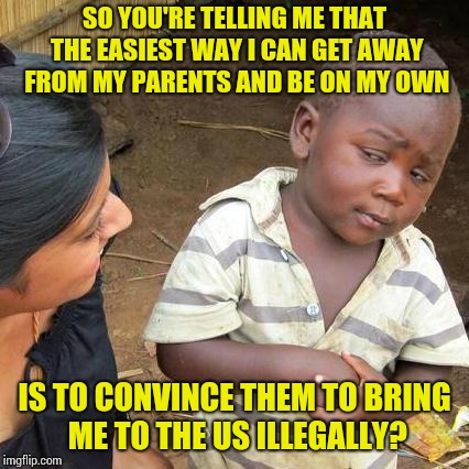 Third World Skeptical Kid Meme | SO YOU'RE TELLING ME THAT THE EASIEST WAY I CAN GET AWAY FROM MY PARENTS AND BE ON MY OWN IS TO CONVINCE THEM TO BRING ME TO THE US ILLEGALL | image tagged in memes,third world skeptical kid | made w/ Imgflip meme maker