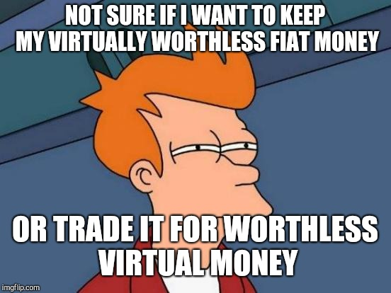 Futurama Fry Meme | NOT SURE IF I WANT TO KEEP MY VIRTUALLY WORTHLESS FIAT MONEY OR TRADE IT FOR WORTHLESS VIRTUAL MONEY | image tagged in memes,futurama fry | made w/ Imgflip meme maker