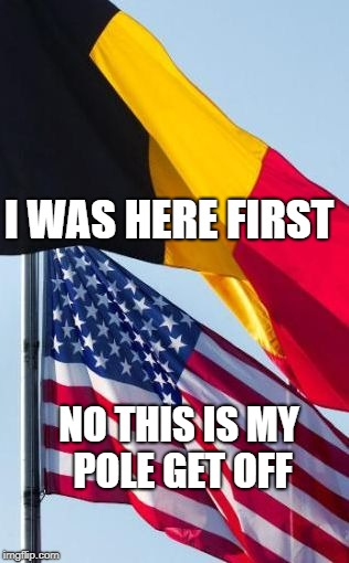 American flag and Belgium flag fighting  | I WAS HERE FIRST NO THIS IS MY POLE GET OFF | image tagged in belgium american flag,argument,funny | made w/ Imgflip meme maker