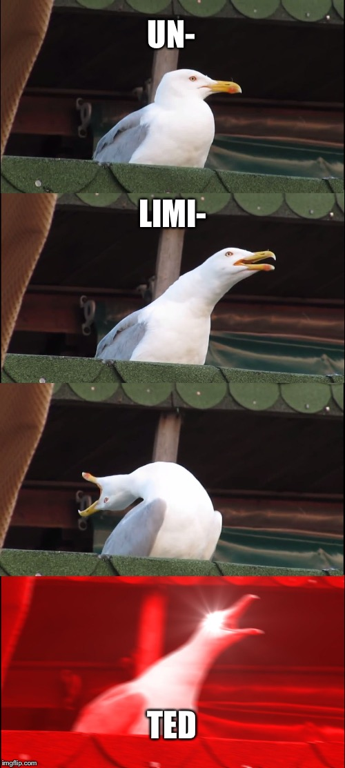 Inhaling Seagull Meme | UN- LIMI- TED | image tagged in memes,inhaling seagull | made w/ Imgflip meme maker