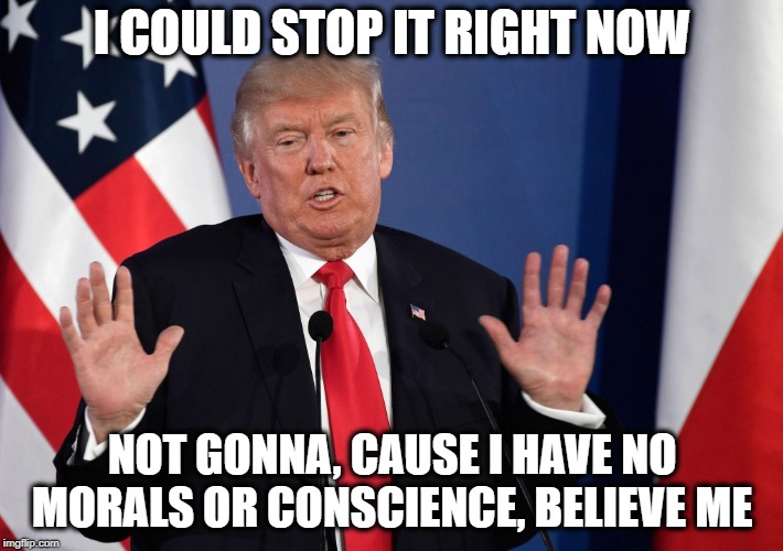 Trump Not Me | I COULD STOP IT RIGHT NOW NOT GONNA, CAUSE I HAVE NO MORALS OR CONSCIENCE, BELIEVE ME | image tagged in trump not me | made w/ Imgflip meme maker