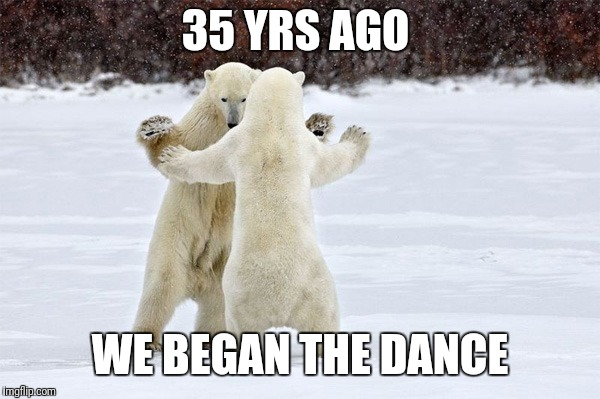 35 YRS AGO WE BEGAN THE DANCE | image tagged in dancing bears | made w/ Imgflip meme maker