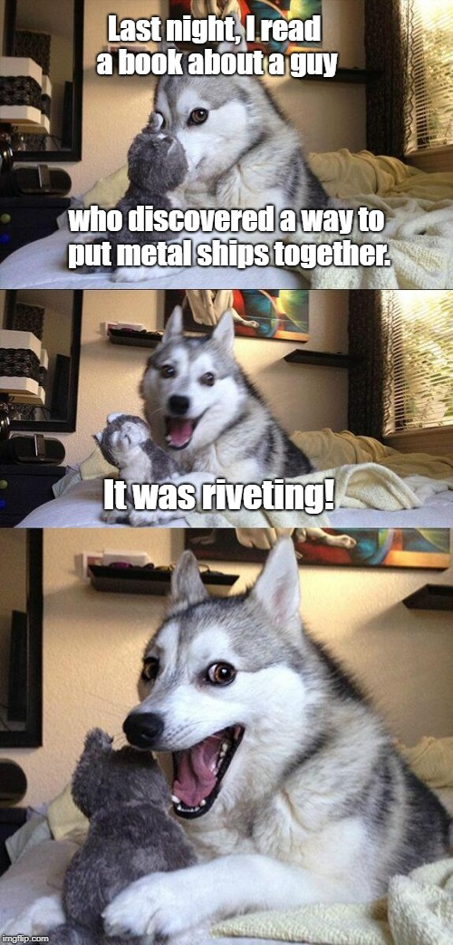 The story took place before Flex Glue was invented.... | Last night, I read a book about a guy who discovered a way to put metal ships together. It was riveting! | image tagged in memes,bad pun dog | made w/ Imgflip meme maker