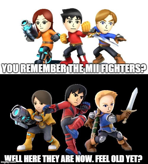YOU REMEMBER THE MII FIGHTERS? WELL HERE THEY ARE NOW. FEEL OLD YET? | image tagged in smash mii comparison | made w/ Imgflip meme maker