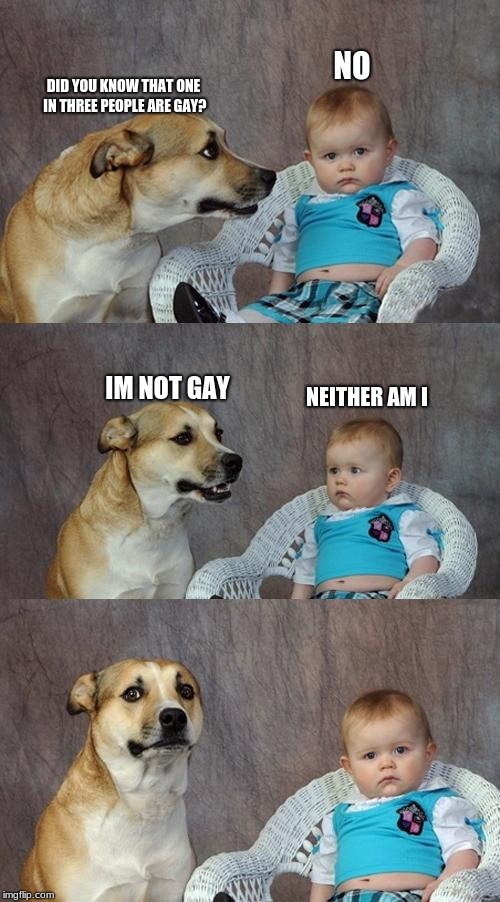 Dad Joke Dog | DID YOU KNOW THAT ONE IN THREE PEOPLE ARE GAY? NO IM NOT GAY NEITHER AM I | image tagged in memes,dad joke dog | made w/ Imgflip meme maker