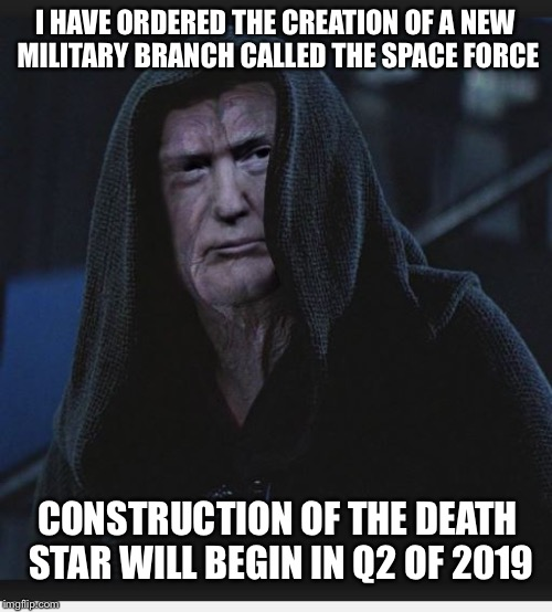Sith Lord Trump | I HAVE ORDERED THE CREATION OF A NEW MILITARY BRANCH CALLED THE SPACE FORCE CONSTRUCTION OF THE DEATH STAR WILL BEGIN IN Q2 OF 2019 | image tagged in sith lord trump,memes,funny,donald trump,star wars,death star | made w/ Imgflip meme maker