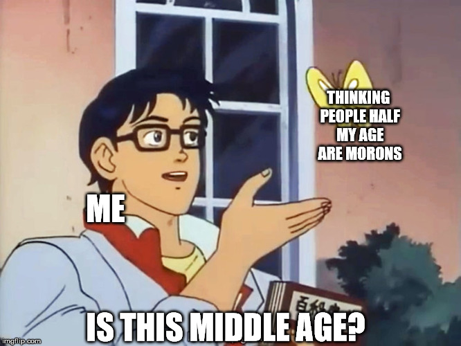 ANIME BUTTERFLY MEME | ME THINKING PEOPLE HALF MY AGE ARE MORONS IS THIS MIDDLE AGE? | image tagged in anime butterfly meme | made w/ Imgflip meme maker