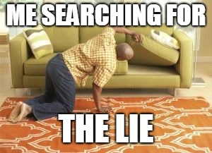 Searching  | ME SEARCHING FOR THE LIE | image tagged in searching | made w/ Imgflip meme maker