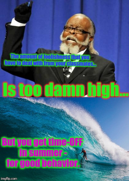 The amount of foolishness that you have to deal with from your classmates... Is too damn high... But you get time-OFF in summer - for good b | made w/ Imgflip meme maker