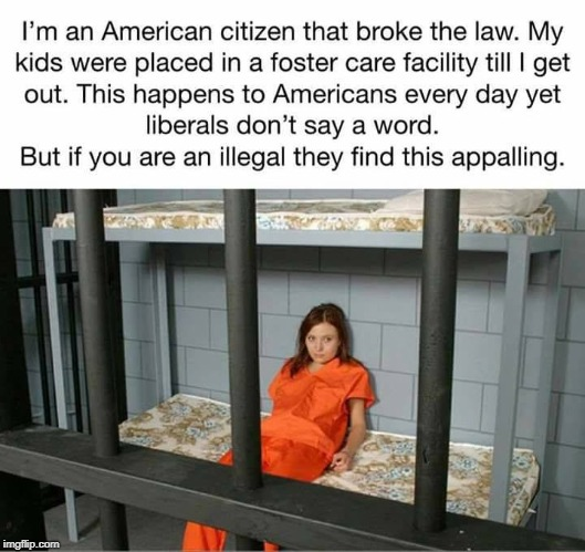 Breaking the law separates families... | I'm an American citizen that broke the law. My kids were placed in a foster care facility till I get out. This happens to Americans every da | image tagged in crime,illegal immigration,secure the border,separated,illegal immigrant,memes | made w/ Imgflip meme maker