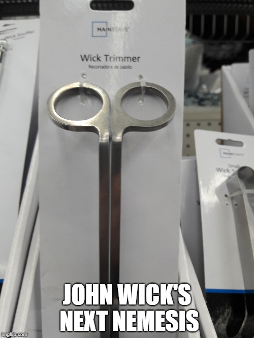 The Wick Trimmer  | JOHN WICK'S NEXT NEMESIS | image tagged in john wick | made w/ Imgflip meme maker