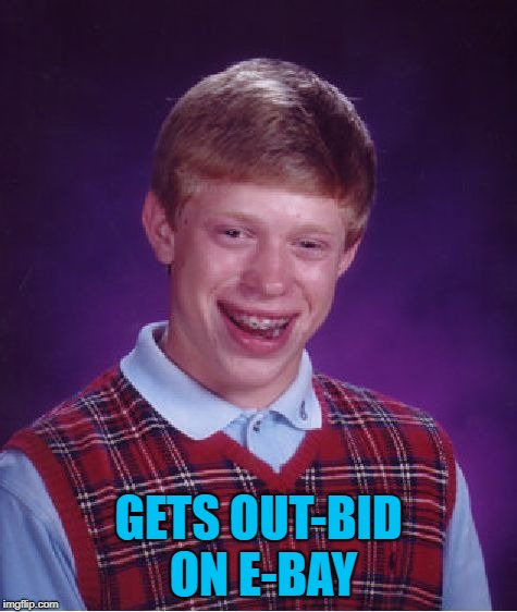 Bad Luck Brian Meme | GETS OUT-BID ON E-BAY | image tagged in memes,bad luck brian | made w/ Imgflip meme maker