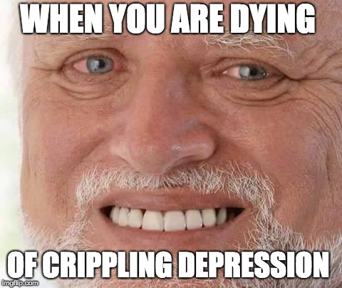 harold smiling | WHEN YOU ARE DYING OF CRIPPLING DEPRESSION | image tagged in harold smiling | made w/ Imgflip meme maker