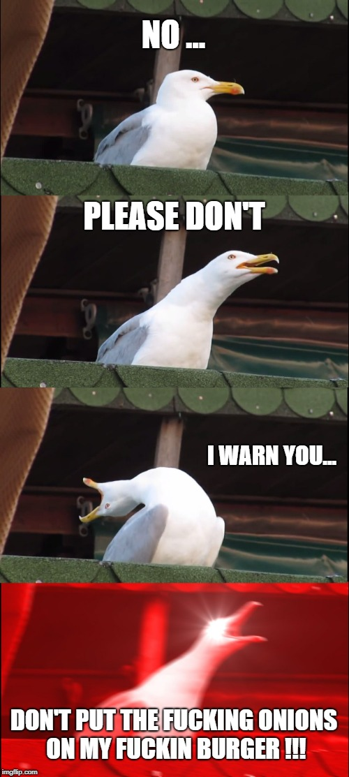 Inhaling Seagull Meme | NO ... PLEASE DON'T I WARN YOU... DON'T PUT THE F**KING ONIONS ON MY F**KIN BURGER !!! | image tagged in memes,inhaling seagull | made w/ Imgflip meme maker